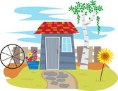 Shed With Fence — Stock Vector