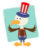 Patriotic Eagle With Hat — Stock Vector
