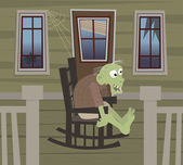 Zombie on a Rocking Chair — Stock Vector