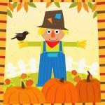 Scarecrow and Pumpkins — Stock Vector #51059701