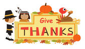 Give Thanks Sign — Stock Vector