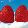 Stock Photo: Two Hearts Together in Sky