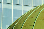 Close Up Green Dome Roof and Office Windows — Stock Photo