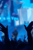 Silhouette of Raised Hands — Stock Photo