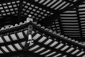 Black & White Japanese Pagoda Roof Beams — Stock Photo