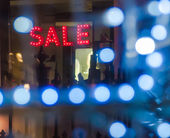 Sale Sign in Window — Stock Photo