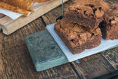 Brownies de chocolate & mesa de madera (3) — Foto de Stock