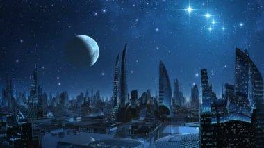 City of aliens. — Stock Video