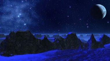 Fantastic planet (dark blue light) — Stock Video