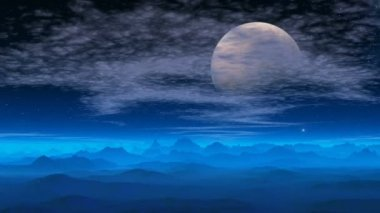 Fantastic planet. The big moon. — Stock Video