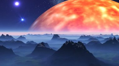 The sun and UFO against a fantastic landscape — 图库视频影像