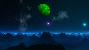Green planet and UFO in the sky of a fantastic planet — 图库视频影像
