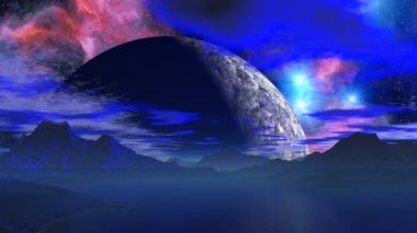 Huge planet over the horizon. — Stock Video