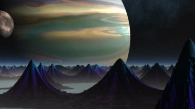 Città di alieni e due pianeti — Video Stock