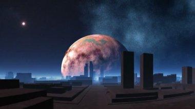 Uzaylılar ve nabız gibi atan ufo şehri — Stok video