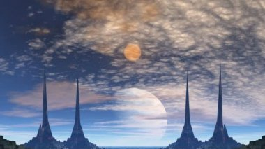 Towers of aliens, gas giant and moo — 图库视频影像