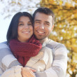 Beautiful embraced couple in the park. — Stock Photo #19475813