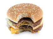 Bitten hamburger isolated on white background — Stock Photo