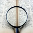 Stock Photo: Revealling book with magnifying glass