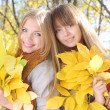 Two  girl holding a bunch of yellow maple leaves — Stock Photo