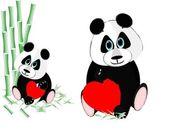 Panda bear love — Stock Vector