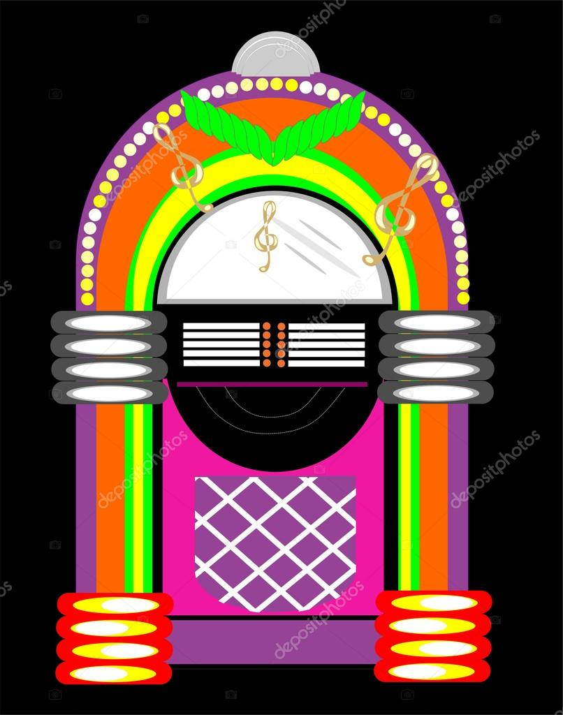 Jukebox from the 50's in vibrant colors.  Playing music for those to jive to. Very colourful, with lights, 45's, and more.. — Stock Vector #19931451