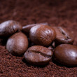 Coffee in beans and ground — Stock Photo