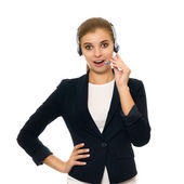 Smiling operator with phone headset — Stock Photo