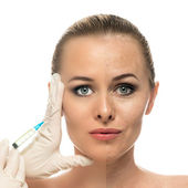 Cosmetic injection to the pretty Beautiful woman face and beautician hands with syringe. Face of young woman before and after the procedure. — Stock Photo