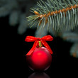 Red christmas ball on black background — Stock Photo