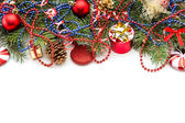 ボールと装飾クリスマスの背景 — ストック写真
