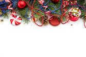 Vánoční pozadí s míčky a dekorace — Stock fotografie