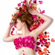Female waxing armpit in beauty salon. Ideal smooth clear skin. Beautiful womlying in rose petals. Depilation. Epilation — Stock Photo #37759775