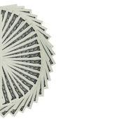Kilka 100 nas zauważa pieniędzy rozłożone w formie wachlarza, na białym tle — Zdjęcie stockowe