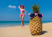 Pineapple in glasses — Stock Photo