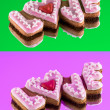 Cookies with the text of love and red heart on Valentine's Day — Stock Photo