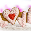 Stock Photo: Cookies with the text of love and red heart on Valentine's Day