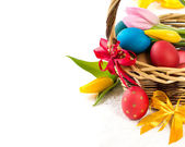 Easter basket with Easter Eggs and tulips — Foto Stock