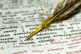Open the book and quill closeup — Stock Photo