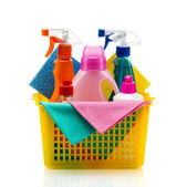 Plastic basket with cleaning supplies, isolated on white background — Stock Photo