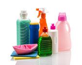 Envase de plástico producto limpieza para la casa limpia sobre fondo blanco — Foto de Stock
