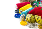 Tools for sewing and handmade: measurement, button, thimble, pins — Stock Photo