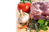 Food. Raw Meat for barbecue with fresh Vegetables and Mushrooms on wooden surface. — Stock Photo