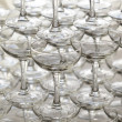 Pyramid holiday of champagne glasses on table in party — Stock Photo #47757015