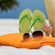 Summer beach bag with coral,towel,sunglasses and flip flops on sandy beach — Stock Photo #49082647