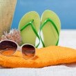 Summer beach bag with coral,towel,sunglasses and flip flops on sandy beach — Stock Photo #49082651