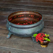Cut flowers in vintage bowl with water. Spa concept. — Stock Photo