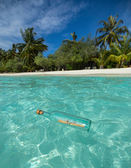 Message in a bottle washed ashore on a tropical beach. — Stock Photo