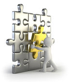 3d small - golden puzzle insert — Stock Photo