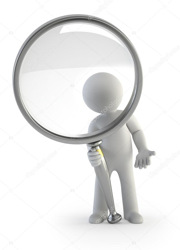 Little man looking through a magnifying glass  Stock Photo #20740569
